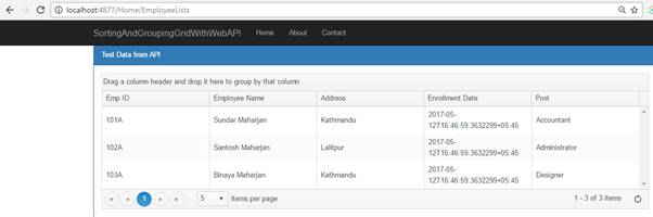 Sorting and Grouping Grid Using ASP NET Core Web API